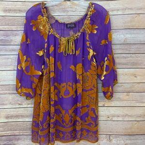 Hale Bob Purple Silk Gold detail blouse Sz M